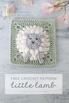 Crochet Sheep Free Pattern, Granny Square Pattern Free, Crochet Motif Patterns, Crochet Squares, Free Crochet, Flower Granny Square, Manta Animal, Granny Square Projects, Baby Blanket Crochet
