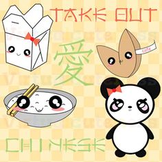 Chinese Food Clipart - Take Out Clip Art, Fast Food, Asian, Cuisine, Panda, Planner, Kawaii, Chibi, Fun, Free Commercial and Personal Use