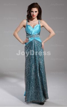Sequin Sheath Shoulder Straps Floor-length Dress
