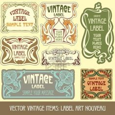 Vintage Items: Label Art Nouveau Royalty Free Cliparts, Vectors, And Stock Illustration. Image 10475519.