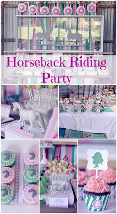 Beautiful horseback riding girl birthday party! Worth a look! See more party ideas at CatchMyParty.com. #horses #girlbirthday