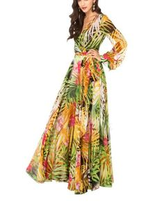 Kawen Women's Chiffon Long Elegant Ball Gown Evening Party Dress