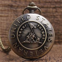 United States VETERAN Pocket Watch With FOB Chain Retro Bronze Mens Womens Quartz Pocket Watch