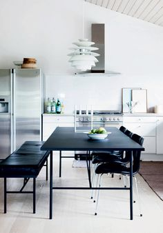 Snowball pendant by Poul Henningsen from Louis Poulsen, Series 7 chair by Arne Jacobsen from Fritz Hansen and Kubus 8 candle holder by Mogens Lassen from By Lassen Arne Jacobsen Chair, Dining Area, Dining Table, Dining Rooms, Danish Kitchen, One Wall Kitchen, Interior Styling, Interior Design, By Lassen