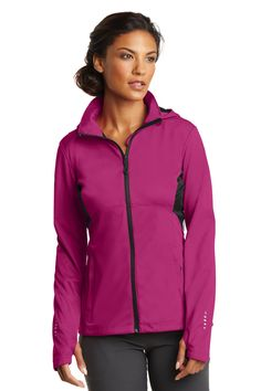 This is a great water-resistant and wind-resistant soft-shell. This stretch jacket has thumb holes and reflective details.
