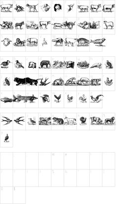 Animals Old Cuts font character map