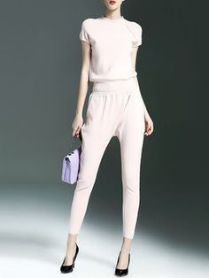 Pink Plain Casual Two Piece Jumpsuit