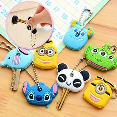 SFamily Cartoon ID Identity Key Ring Assorted Plastic Sleeve Cap Set of 6 Random Colors * Visit the image link more details.