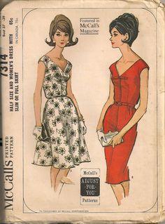 UNCUT Vintage 1960's Dress Pattern McCall's 7314.