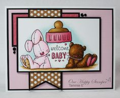 This ADORABLE welcome baby card holds a gift card on the inside.  The Whipper Snapper stamp with bunny, bear and bottle was colored with copics and mounted on several matted layers for an easy handmade baby card.