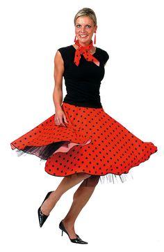 1950s Rock N Roll Grease Fancy Dress Red Polka Dot Kit Glasses Scarf Earrings