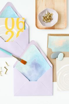 DIY Watercolor Envelope Liner Via: Paper & Stitch