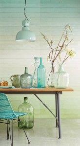 Eijffinger Bloom 340092 fotowand Wood plank met print strepen beige turquoise - BLOOM behang+fotowand - Eijffinger - Behang - Behangstore