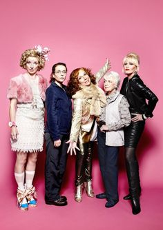 Jane Horrocks, Julia Sawalha, Jennifer Saunders, June Whitfield and Joanna Lumley, in Absolutely Fabulous
