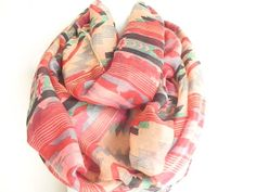 Coral Red Aztec scarf tribal infinity scarf by myfashioncreations, $22.00
