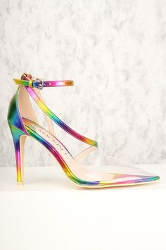 8712d9c1aa29 Sexy Rainbow Holographic Clear Pointy Toe Single Sole High Heels