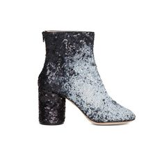 Maison Margiela 'Handmade Airbrushed' Glitter Embellished Leather... ($696) ❤ liked on Polyvore featuring shoes, boots, ankle booties, metallic, leather boots, chunky-heel ankle boots, high heel ankle boots, glitter booties and high heel bootie