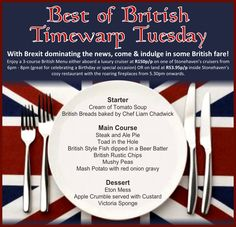 ‪#‎Brexit‬ getting you down?  Spruce up your mood with the Best of British Time Warp Tuesday - only R53.95p/p for the full 3-course meal or enjoy it on a luxury 2 hour sunset cruise at only R150p/p Book now to reserve your table! info@stonehaven.co.za or 016 982 2951/2