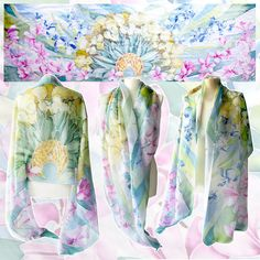 Scarf FLOWERS is a big silk scarf decorated with a fan of different flowers arranged in Art Nouveau manner. This large scarf is designed as an unique wedding gift: its very glamorous and cheerful, and if you wish there can be a sentence, date or names added to the composition. The fan of flowers makes for a gorgeous, everlasting bouquet scarf. The flowers are: white - blue Tulips, golden Hydrangeas, blue Iris and pink Magnolia. There is also a golden moon shape in the center of the scarf…