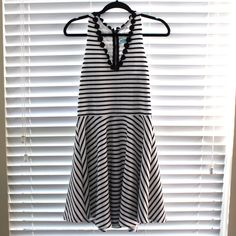 "Striped White/Black Dress Francesca's. White &a Black Striped Dress. Size L. 36"" from shoulder to hem. Francesca's Collections Dresses Midi"