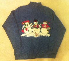 SALE UGLY CHRISTMAS SWEATEr snowmen snowman by CarolinaThriftChick $11.49