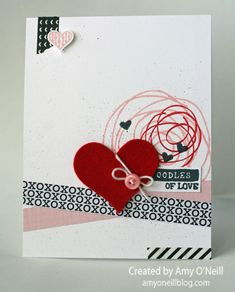 Amy O'Neill : Amy's Paper Crafts  – Valentine Smooches - Monday Montage #36 - 1/25/15 (SU - Scribbled Heart stamps, Heart framelits, Stacked with Love dsp pack, washi)