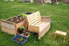 Pallets are transformed into benches and shopping carts converted into compost bins.