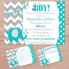 turquoise and grey chevron elephant boy baby shower digital invitation and diaper raffle set digital