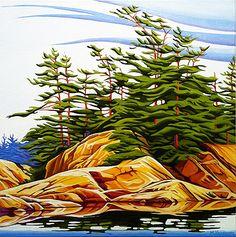 """""""Summer North Shore"""" by Margarethe Vanderpas Watercolor Landscape, Landscape Art, Landscape Paintings, Watercolor Paintings, Painting Trees, Watercolours, Art Paintings, Landscapes, Pictures To Paint"""