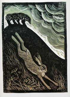 Storm Hare by Tamsin Abbott. Fantastic linocut produced after Tamsin had a two day workshop with linocut artist Ian Phillips.
