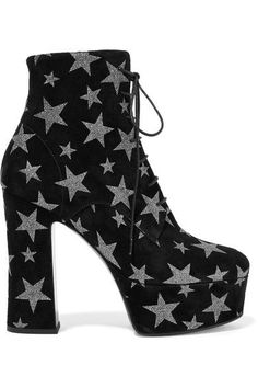 6c3ae5c92171 Saint Laurent - Candy glittered suede platform ankle boots. Chunky Heel  Ankle BootsBlack ...