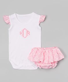 Look at this Caught Ya Lookin' Pink Monogram Bodysuit & Diaper Cover - Infant on #zulily today!