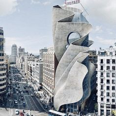 hotel architecture a folding concrete envelope wraps around a glass building in this imagined landscape by spanish artist dionisio gonzalez. Folding Architecture, Concrete Architecture, Hotel Architecture, Organic Architecture, Futuristic Architecture, Beautiful Architecture, Landscape Architecture, Architecture Design, System Architecture