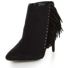 New Look Wide Fit Suedette Fringe Trim Heeled Ankle Boots (£23) ❤ liked on Polyvore featuring shoes, boots, ankle booties, black, black ankle boots, black bootie, black boots, black high heel boots and high heel ankle boots