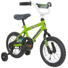 "12"" Boys Skull Bones Bike with Training Wheels Outdoor Steel Ride On Toy Green #Magna"
