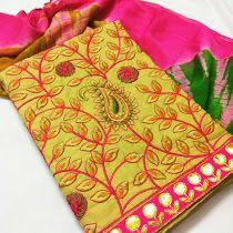 Cotton top with kashmiri work | Buy online dressmeterials at...