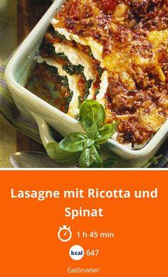 Enthält viel Eisen: Lasagne mit Ricotta und Spinat - 647 kcal - einfaches Gericht - So gesund ist das Rezept: 9,4/10   Eine Rezeptidee von EAT SMARTER   Eisenmangel, Auflauf, Spinatauflauf, Ofengerichte, Fleisch, Gemüse, Blattgemüse, Nudeln, Spinat-Lasagne, Nudeln mit Spinat #lasagne #gesunderezepte