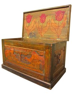 Rare Antique Arts & Crafts Carved & Enameled Blanket Chest Stickley Era W1607
