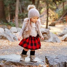 Handmade in  Genuine Leather Mocs, Boots and Accessories, High Quality Boots, Buffalo Plaid Christmas mini shoot, christmas inspiration, faux fur vest, handmade faux fur pom hat