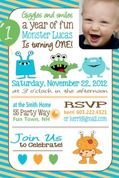 Monster Birthday Party Invitation - Photo Card - Monster Birthday Girl or Boy - Blue Orange Brown Green - Balloon - First Birthday Monster Little Monster Birthday, Monster 1st Birthdays, Monster Birthday Parties, Baby Boy 1st Birthday, First Birthday Parties, First Birthdays, Birthday Ideas, Little Monster Party, Birthday Party Invitations