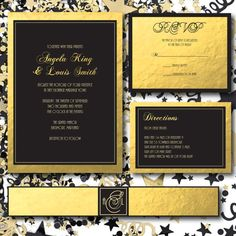 Gold and Black Printable Wedding Invitation - Gold Wedding Invitation Printable - Wedding Printable - Black Invitation Printable - Black Tie Wedding Collection - Gold Invitation - Gold RSVP - Gold Directions card - Gold Belly Band by 105DesignHouse