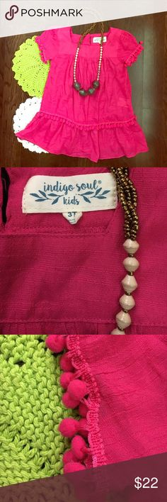 Girls toddler bohemian tunic with #pom poms Adorable mini mom tunic! Bohemian style adorned with pom poms. Pink in color. Stretchy bottom on back of neck. Size 3 T. Bought at a boutique. Light weight super soft fabric. Indigo soul brand. Great condition! Gently loved! indigo soul Dresses