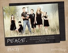 "Photo Christmas Card (Digital or Printed)- ""Peace"""