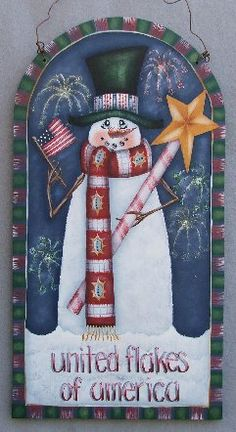 Patriotic snowman~Just Fine Designs Christmas Wood, Christmas Snowman, Christmas Projects, Snowmen Pictures, Christmas Pictures, Cute Snowman, Snowman Crafts, Painted Jars, Hand Painted
