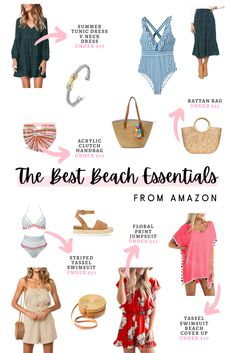 In today's post I've rounded up the best Amazon beach essentials for you to shop. This includes dresses, shorts, rompers, swimsuits, handbags, shoes, etc. #summerfashion #beachfashion #fashionblogger #summerstyle #beachstyle