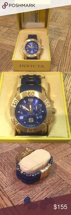 Invicta Seaspider chronograph watch 100% authentic Invicta seaspider collection Gold tone and blue rubber band 50 mm  Blue face Swiss components Stainless steel Comes with 2 extra links Invicta Accessories Watches