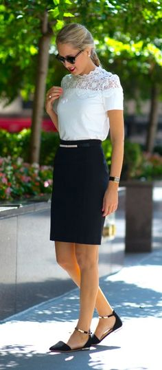 white lace short sleeve top, black pencil skirt, gold ankle strap d'orsay flats, + pearl accents