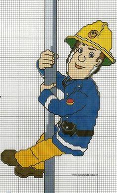 Sam Il by on DeviantArt Cross Stitch For Kids, Cross Stitch Charts, Cross Stitch Patterns, Cross Stitching, Cross Stitch Embroidery, Fireman Quilt, Débardeurs Au Crochet, Sam Cross, Stitch Character