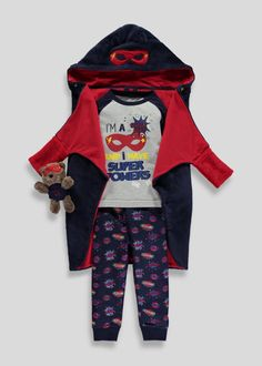 Make bedtimes fun with this four piece set, which includes a pyjama top, bottoms, cape dressing gown and cuddly toy. Playful and printed, allow him to...