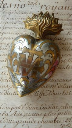 "themagicfarawayttree: "" antique French flaming sacred heart box reliquary ex-voto """
